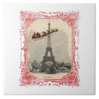Vintage Santa over Paris Trivet Tile