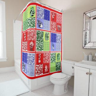 Vintage Santa Quilt Throw Shower Curtain