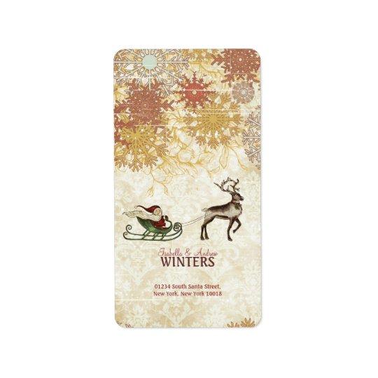 Vintage Santa & Reindeer Label