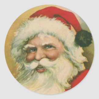 Vintage Santa Round Stickers Set