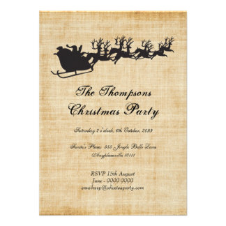 Vintage Santa s Sleigh Reindeer Christmas Party Personalized Invite