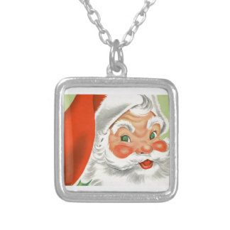Vintage Santa Silver Plated Necklace