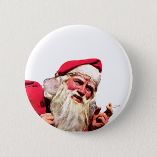 Vintage Santa Smoking Cigarette 6 Cm Round Badge