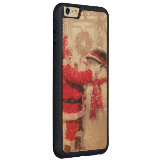 Vintage Santa Snowman Scene Carved Maple iPhone 6 Plus Bumper Case