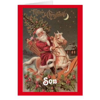 Vintage Santa Son Christmas Card