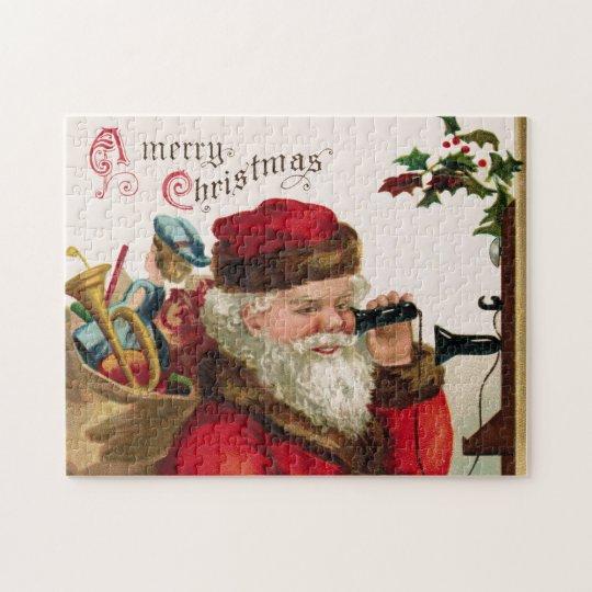 Vintage Santa & Telephone Puzzle