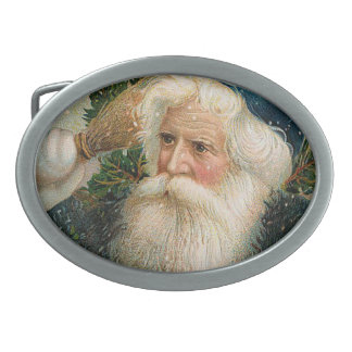 Vintage Santa with Blue Cap Belt Buckle