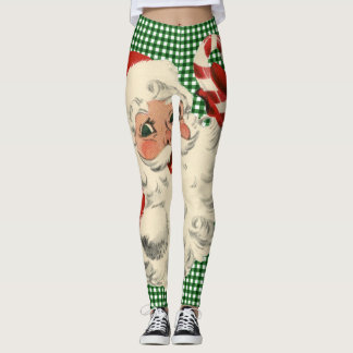 vintage santa with candy cane leggings