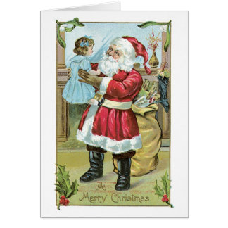 Vintage Santa with Child Greeting Card