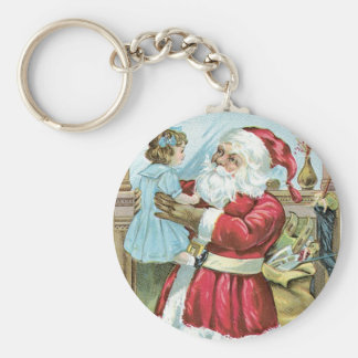 Vintage Santa with Child Basic Round Button Key Ring