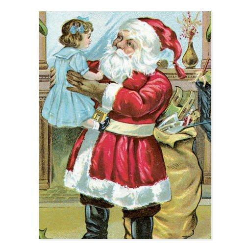 Vintage Santa with Child Postcard