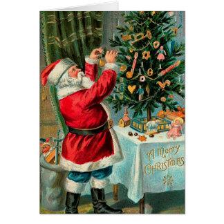 Vintage Santa with Christmas Tree Card