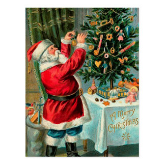 Vintage Santa with Christmas Tree Postcard