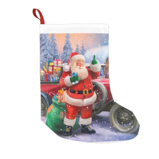 Vintage Santa with classic car