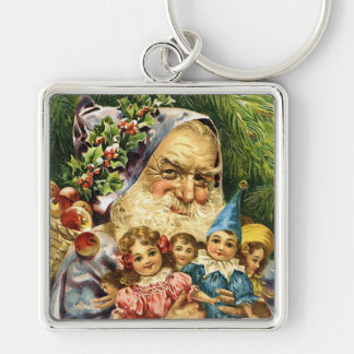Vintage Santa with Dolls Keychain