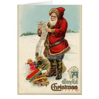 Vintage Santa with List Greeting Card
