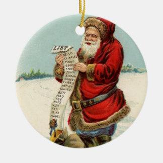 Vintage Santa with List Christmas Tree Ornaments