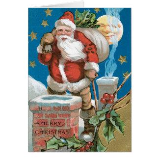 Vintage Santa with Moon Greeting Card