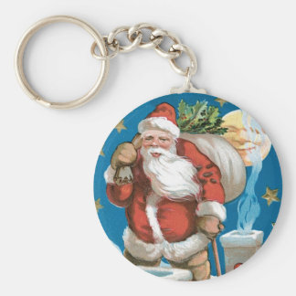Vintage Santa with Moon Key Chain
