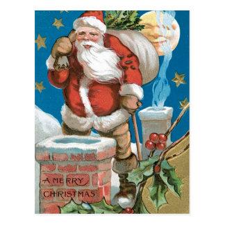 Vintage Santa with Moon Postcard