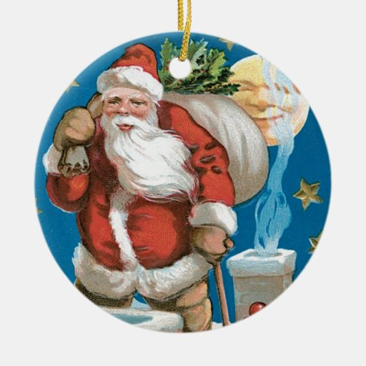 Vintage Santa with Moon - round Christmas Ornaments