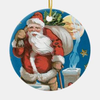 Vintage Santa with Moon - round Round Ceramic Decoration