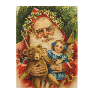Vintage Santa with Teddy and Dolls Wood Wall Decor