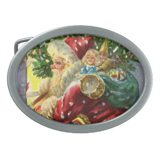 Vintage Santa with Toys and Sweets Oval Belt Buckle