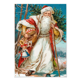 Vintage Santa with toys Party 13 Cm X 18 Cm Invitation Card