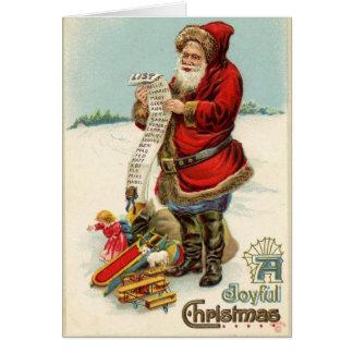 Vintage Santa's Christmas List Card