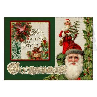 Vintage Santas, Holly and Doves Elegant Christmas Card