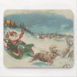 Vintage Santa's Sleigh and Reindeer Mouse Pad