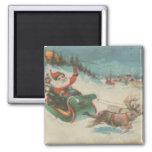 Vintage Santa's Sleigh and Reindeer Square Magnet