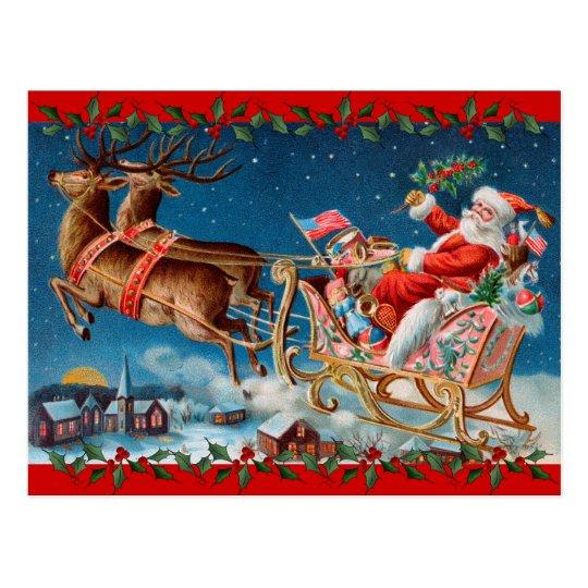 Vintage Santa's Sleigh Postcard