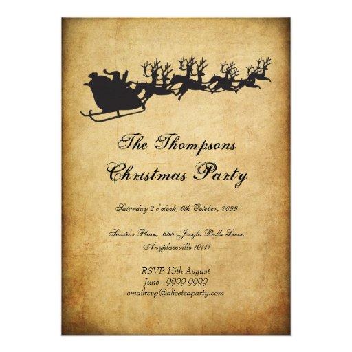 Vintage Santa's Sleigh Reindeer Christmas Party Custom Announcement