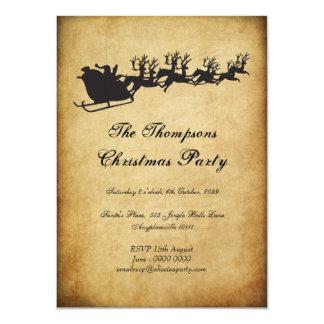 "Vintage Santa's Sleigh Reindeer Christmas Party 4.5"" X 6.25"" Invitation Card"