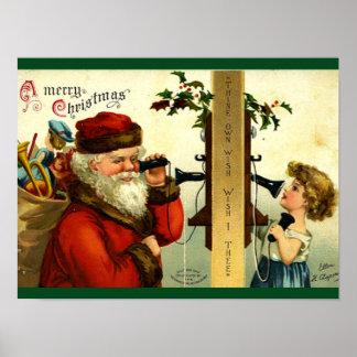 Vintage - Santa's Telephone Call Poster