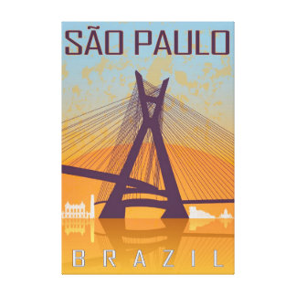 Vintage Sao Paulo poster Gallery Wrapped Canvas