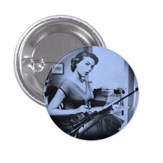 Vintage Sassy Secretary Fashion Gun Button Blue
