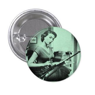 Vintage Sassy Secretary Fashion Gun Button Green