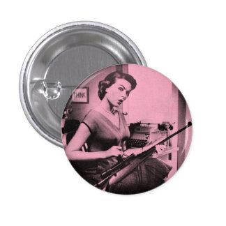 Vintage Sassy Secretary Fashion Gun Button Pink