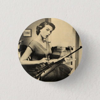 Vintage Sassy Secretary Rifle Gun Fashion Button