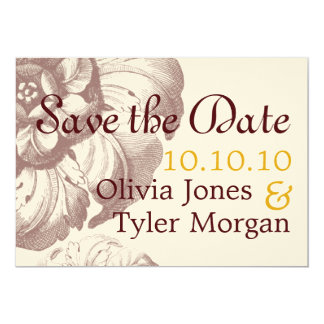 Vintage Save the Date 5x7 Paper Invitation Card