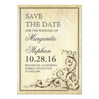Vintage save the date card with flourish swirls