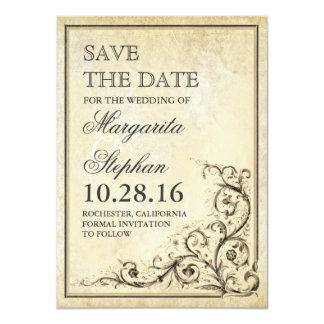 Vintage save the date card with flourish swirls 11 cm x 16 cm invitation card