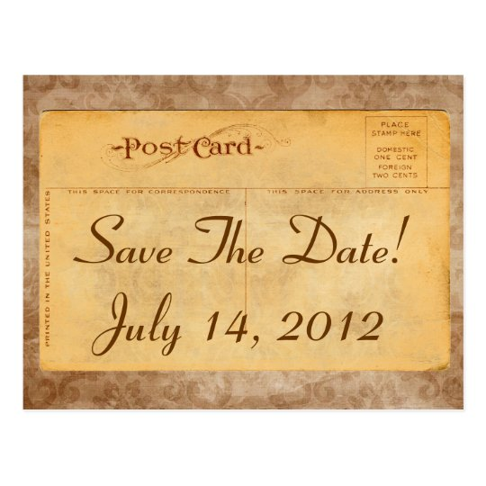 Vintage Save The Date! Damask Invitation Postcards