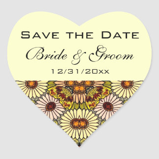 Vintage Save the Date Garden Flowers Butterflies Heart Sticker