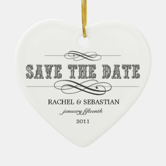 VINTAGE SAVE THE DATE HOLIDAY PHOTO ORNAMENT