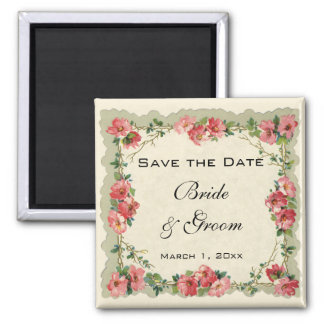 Vintage Save the Date, Pink Flowers Floral Roses Square Magnet