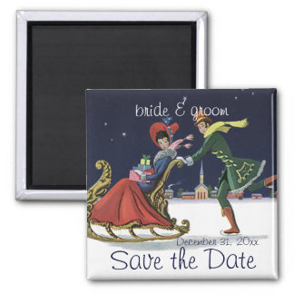 Vintage Save the Date! Romantic Christmas Love Square Magnet
